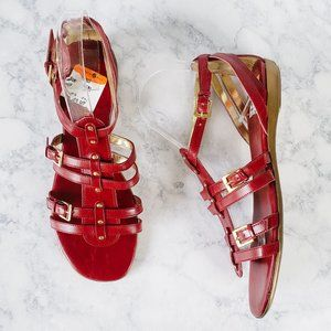 NWOB ENZO ANGIOLINI Red Gladiator Flat Sandals 8.5